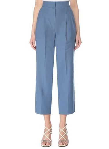 Brunello Cucinelli 101614064 Yüksek Bel Bol Paça Pilili 4 Cepli Cropped Keten Kadın Pantolon Mavi